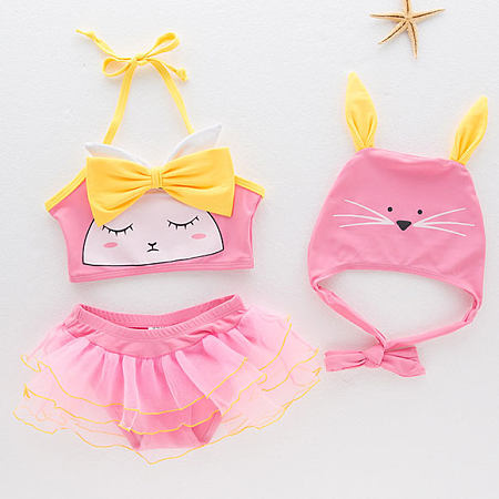 Bowknot Decorated Cartoon Pattern Swimsuit