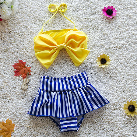 Bowknot Decorated Contrast Stripes Swimsuit