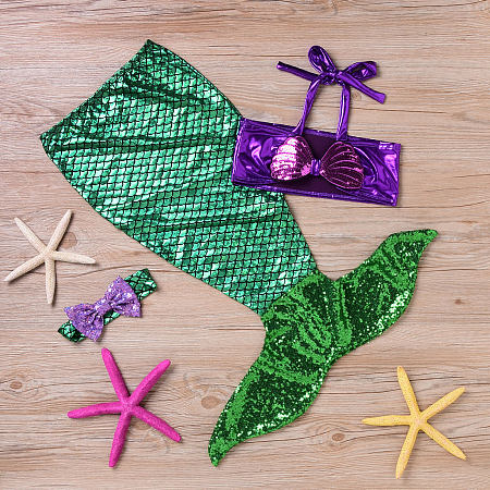 Sequin Bowknot Decorated Fishtail Swimsuit
