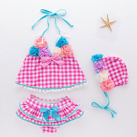 Plaid Flower Bowknot Decorated Ruffle Trim Swimsuit