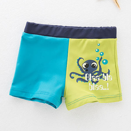 Cartoon Animals Letters Pattern Color Block Swimwear