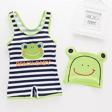 Stripes Cartoon Frog Letters Pattern Swimwear