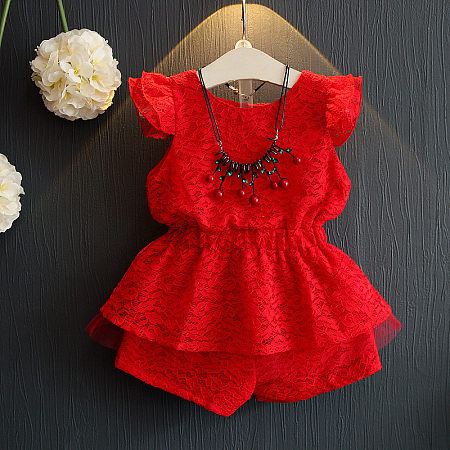 Girls Lace Two Pieces Sets, red, SM17031003