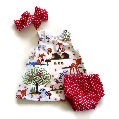Animals Pattern Baby Two Pieces Set With Hairband
