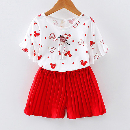 Cartoon Pattern Girls Two Pieces Set