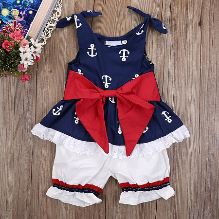 Anchor Pattern Bowknot Two Pieces Set