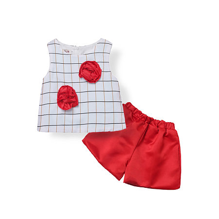Girls Plaids Flower Decorated Two Pieces Set