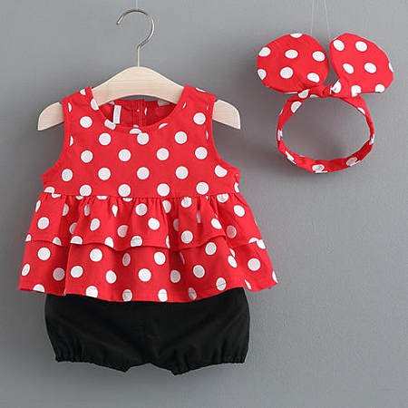 Girls Polka Dots Two Pieces Set With Headband