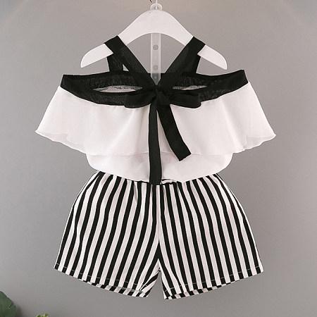 Fashion Girls Stripes Two Pieces Set