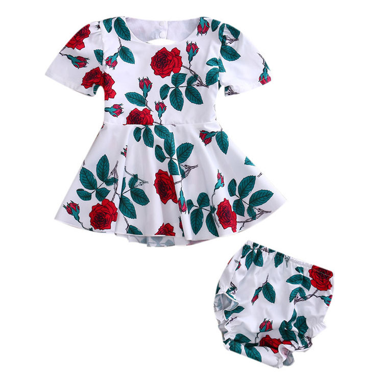 Fashion Baby Backless Rose Print Two Pieces Set