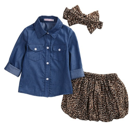 Denim Leopard Print Two Pieces Set With Headband