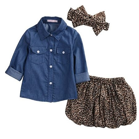 Denim Leopard Print Two Pieces Set With Headband, blue, SM17072418