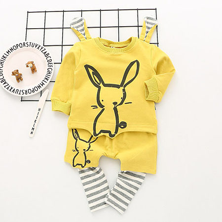 Bunny Pattern Stripes Two Pieces Set