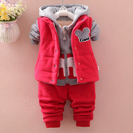Cartoon Pattern Thickened Hooded Three Pieces Set red SM17101112