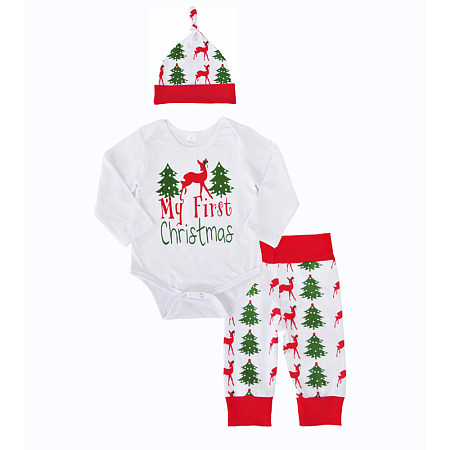 Christmas Reindeer Letter Print Three Pieces Set, 3954769