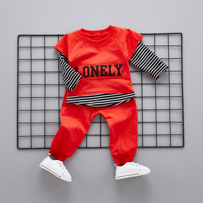 Stripe Letters Round Neck Sweatshirt