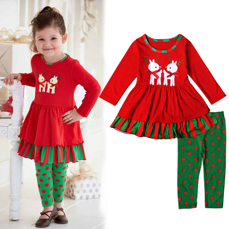 Christmas Double Deer Pattern Polka Dot Trousers Sets
