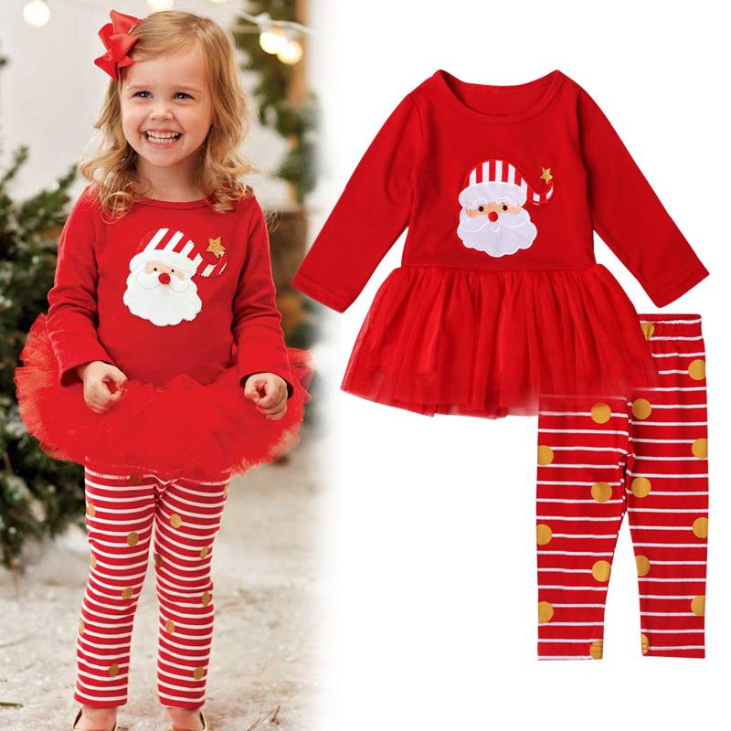 Santa Claus Pattern Tulle Stripe Sets