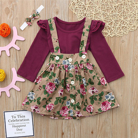 Ruffle Trim Solid Color Top And Floral Print Suspender Skirt Sets