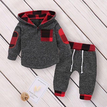 Plaid Hooded Long Sleeve Top And Drawstring Trousers Sets