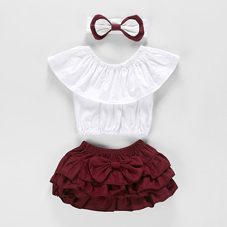 Solid White Top Tired Skirt And Bows Three Pieces Sets