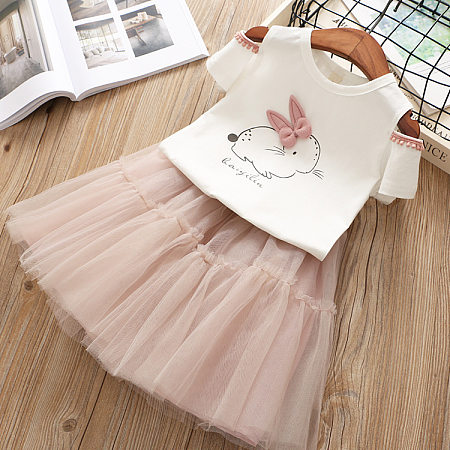 Bunny Pattern Cold Shoulder Fringe Trim And Tulle Skirt Sets