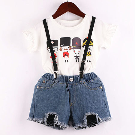 Cartoon Figure Pattern Ruffle Sleeve And Denim Shorts Sets With Strap