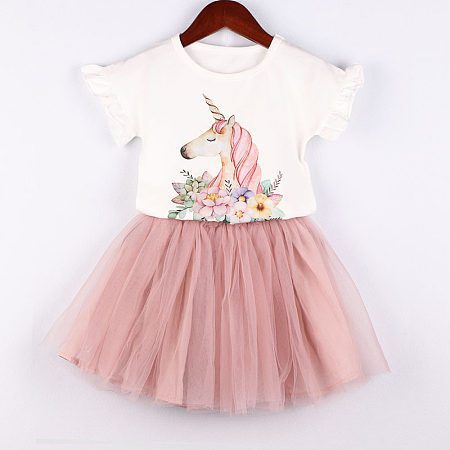 Unicorn Flower Pattern Ruffle Sleeve Round Neck Tulle Two Pieces Sets