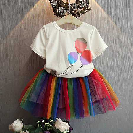 Balloon Pattern Short Sleeve T-Shirt And Colorful Tulle Skirt Sets