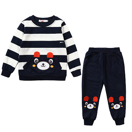 Stripe Cartoon Bear Top And Elastic Waist Trouser Two-Piece Sets