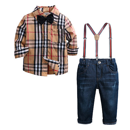 Bowtie Plaid Shirt Shredded Jeans Sets