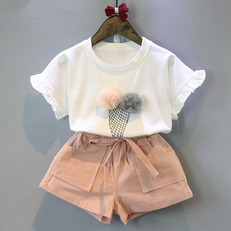 Ice-Cream Pattern Round Neck Drawstring Pink Shorts Sets