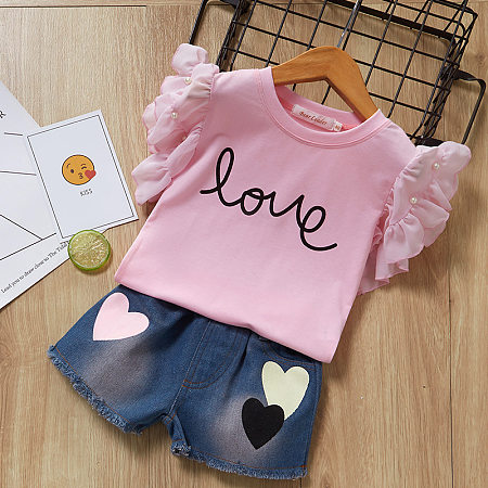 Love Letter Pattern Fly Sleeve Elastic Waist Denim Shorts Sets
