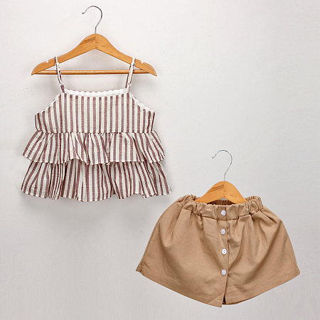 Vertical Stripe Ruffle Trim Cami Top Solid Color Shorts Sets