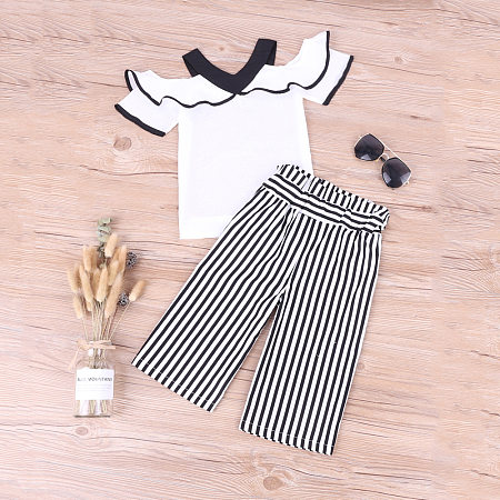 Cold Shoulder Falbala Vertical Stripe Trouser Sets