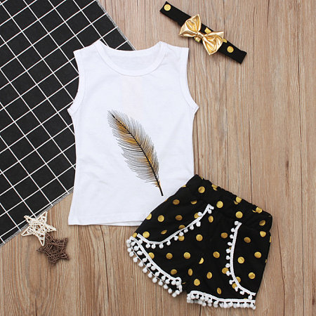 Feather Pattern  Polka Dot Fringe Trim