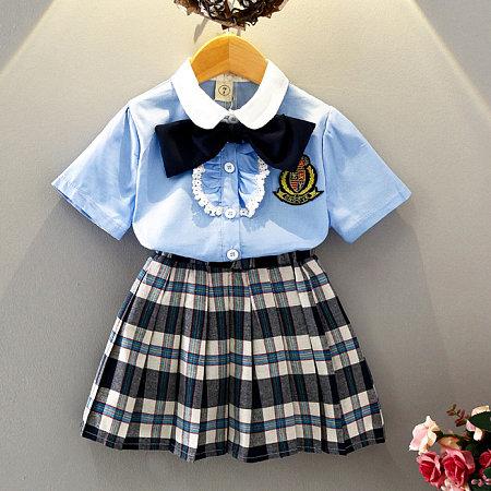 Doll Collar Shorts Sleeve Plaid Skirts Sets
