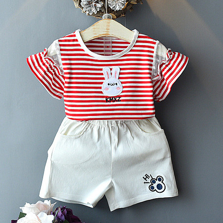 Bunny Pattern Stripe Round Neck Top And Shorts Sets