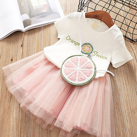 Letter Pattern Tee Solid Color Tulle Skirt Sets