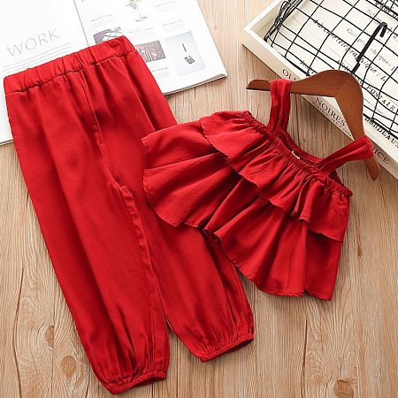 Solid Red Cami Top Trouser Two Pieces Sets