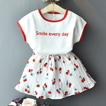 Letter Pattern Tee Cherry Print Pleated Skirt Sets