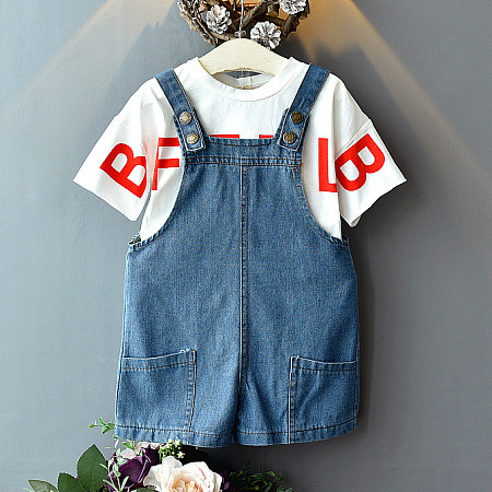Letter Pattern Tee Denim Bottom Two-Piece Dress