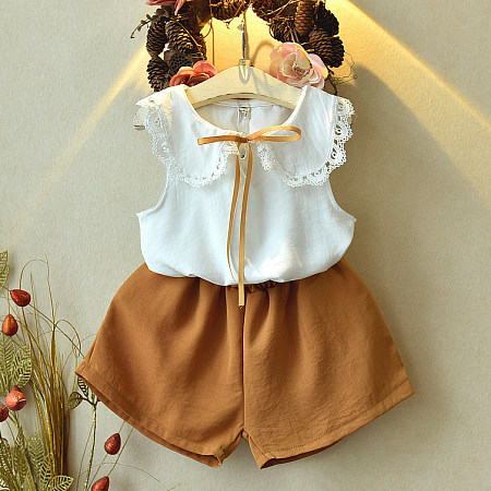 Doll Collar Sleeveless Top Solid Color Shorts Sets