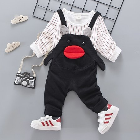 Stripe Top And Cartoon Face Suspender Set