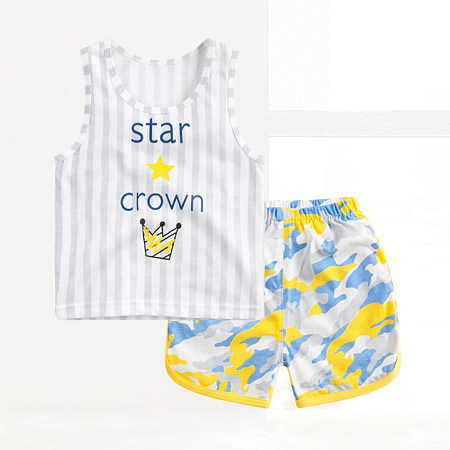 Boys Stripe Crown Pattern Two Pieces Set