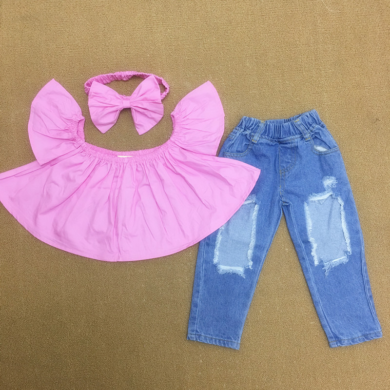 Fashion Girls Off-Shoulder Two Peices Set With Hairband