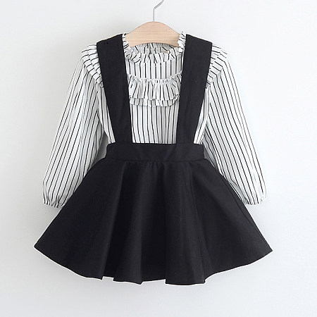 Stripe Shirt And Embroidered Suspender Skirt Set