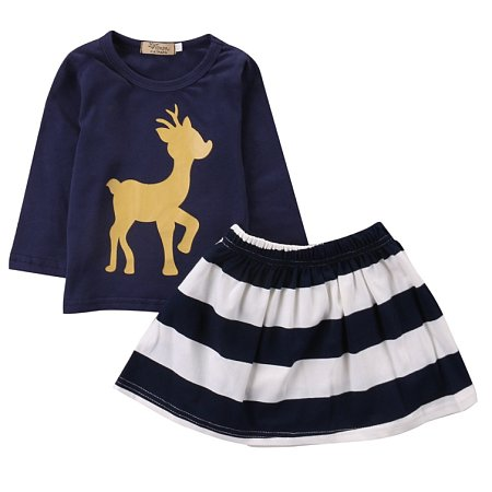 Deer Pattern Top And Stripe Skirt Set, navy_blue, SW17073101