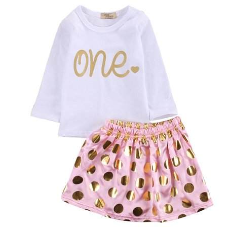 Round Neck Top And Polka Dot Skirt Set