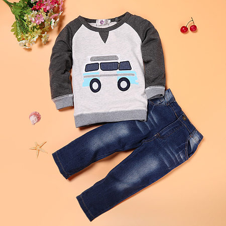 Cartoon Car Pattern Top And Denim Pants Set